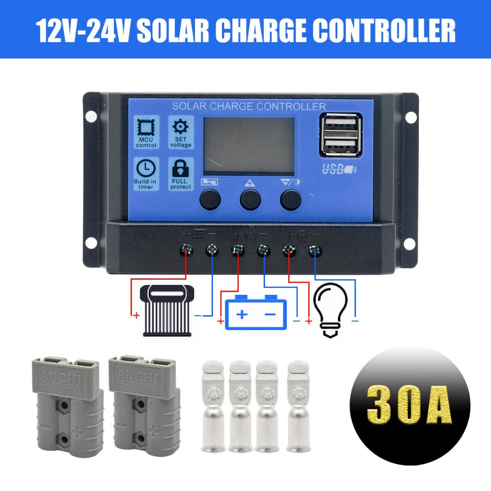 LCD Display PWM Solar Panel Regulator Charge Controller & Timer PWN Mobile Camper Accessories 30A 12V/24V