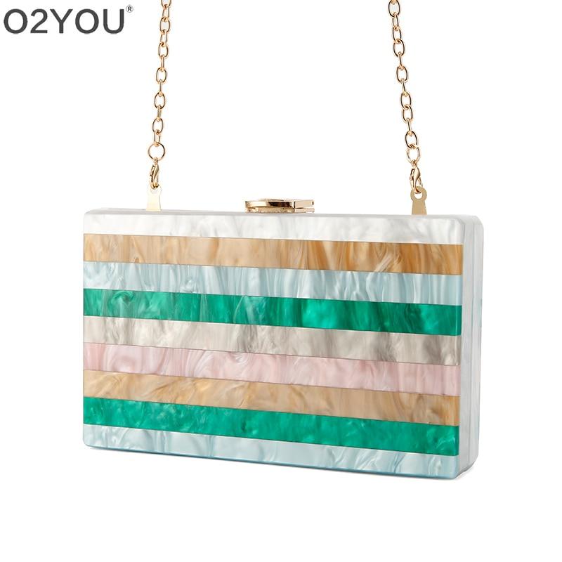 Coloré rayé Patchwork acrylique sac métal fermoir noir tissu chaîne femmes marque dame voyage partie acrylique boîte sac à main portefeuille