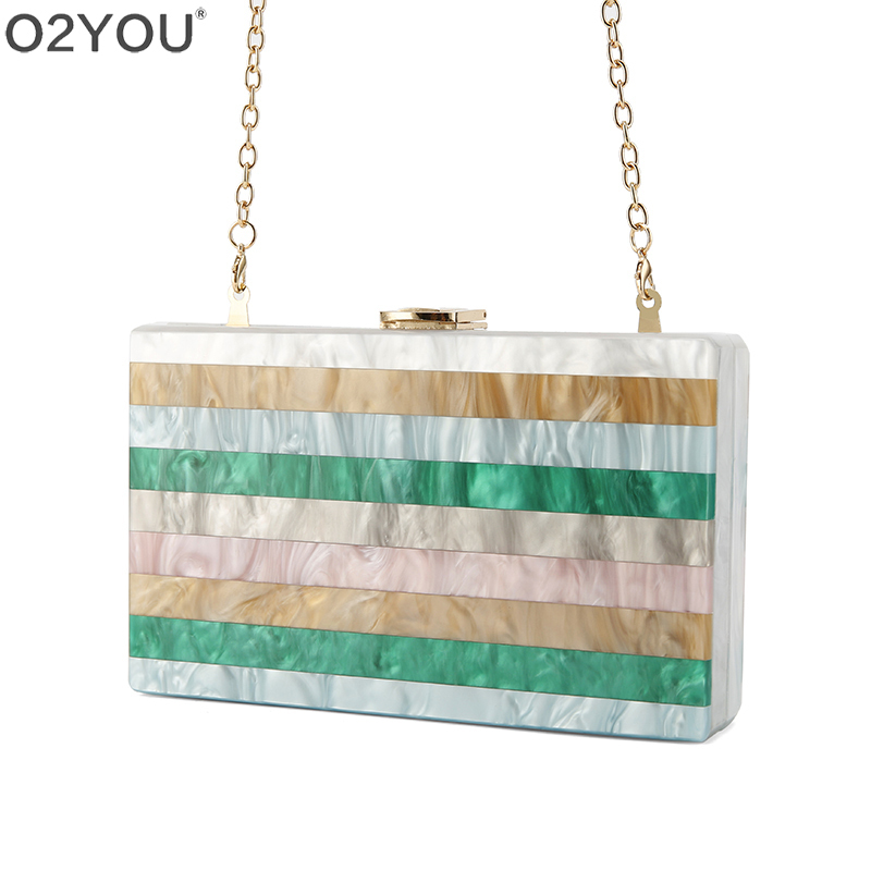 Colorful Striped Patchwork Acrylic Bag Metal Clasp Black Fabric  Chain Women Brand Lady Travel Party Acrylic Box Purse WalletColorful Striped Patchwork Acrylic Bag Metal Clasp Black Fabric  Chain Women Brand Lady Travel Party Acrylic Box Purse Wallet