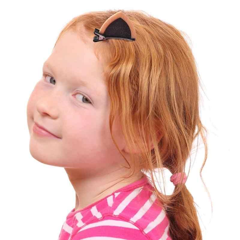 Sevimli Saç Klipleri Kız Glitter Sequins Kedi Kulakları Çocuklar Alaşımlı Saç Tokası 2 adet/takım Moda Prenses Güzel Mini Parlayan Kedi Kulaklar ördek gagası