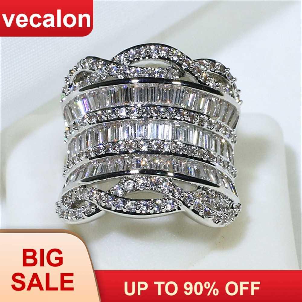 Vecalon Hyperbole Big แหวน 925 เงินสเตอร์ลิง 5A Zircon CZ แหวนหมั้นแหวนผู้หญิงผู้ชายเครื่องประดับ