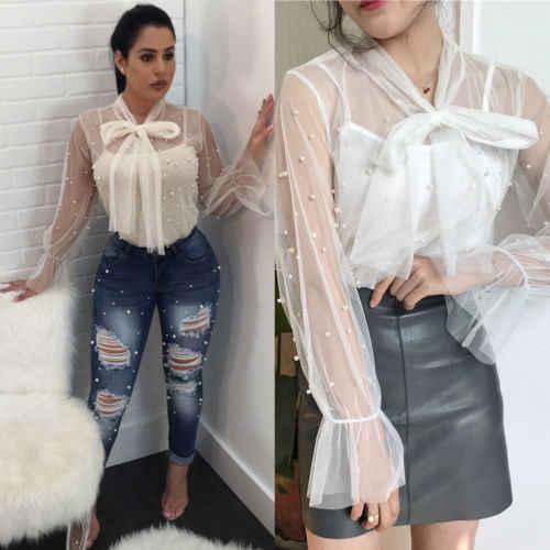 8e8e255250c 2019 New Fashion Women Summer Loose Casual Chiffon Pearl Shirts Long Sleeve  Lace See Through Shirt Tops Blouse Plus Size M-2XL