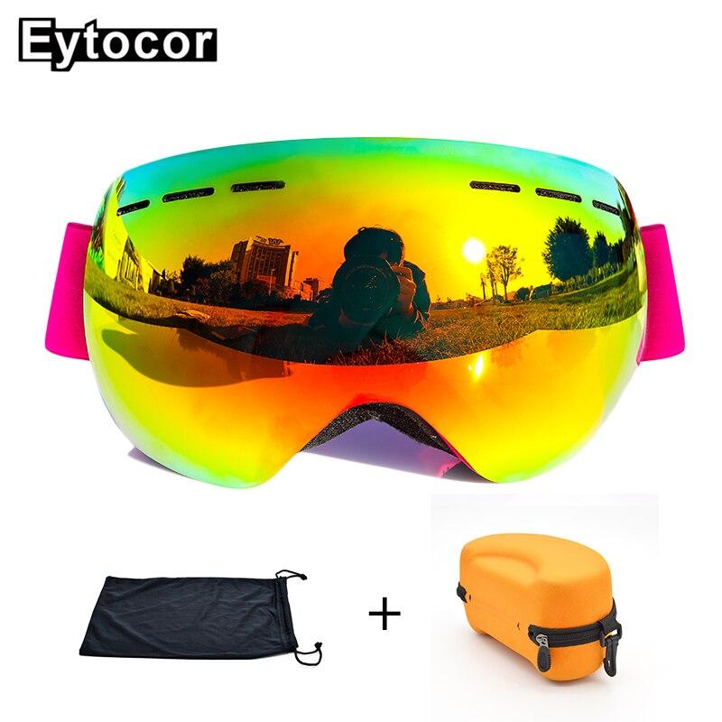 EYTOCOR Top Vente UV400 cagoule Lunettes avec Magnétique Rapide-changement 2 dans 1 Lentille Anti-brouillard Ski Motoneige lunettes masque anti neige