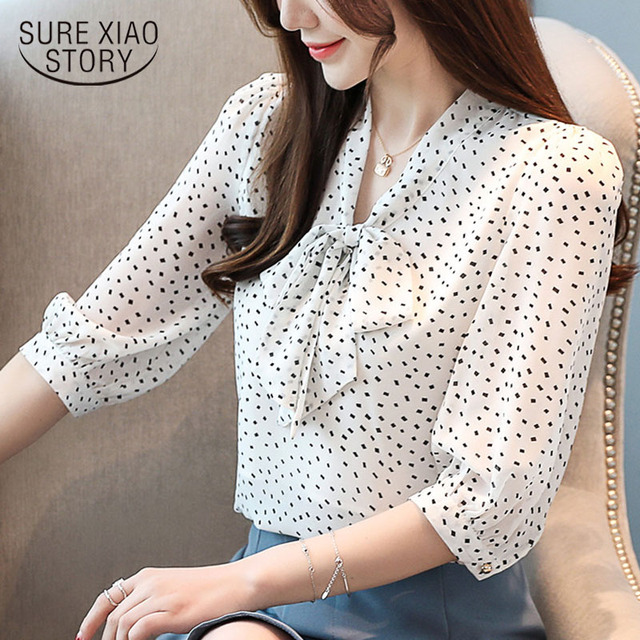 12ac3c0c2614 En venta Blusas mujer de moda 2019 blusa manga corta con cuello en V ...