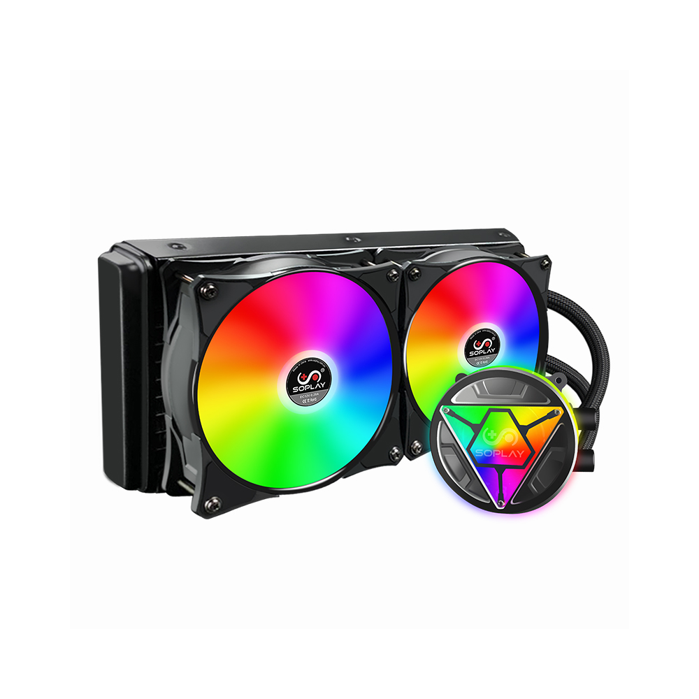 SOPLAY refroidisseur de processeur refroidisseur d'eau RGB coloré effet de lumière radiateur PWM ventilateur RGB ventilateur 120mm Support Intel/AMD pour ordinateur