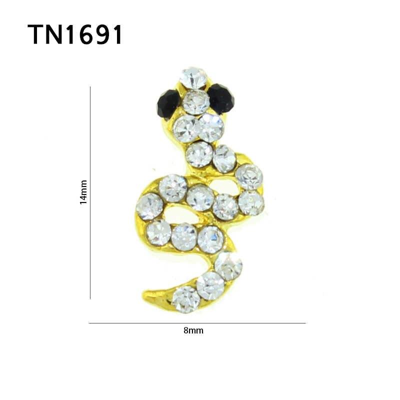 Blueness 10 Pcs/Lot 3D Nails Rhinestones Covering Snake Design Glitter Nail  Art Decorations Black Strass Gold Alloy Accessorie