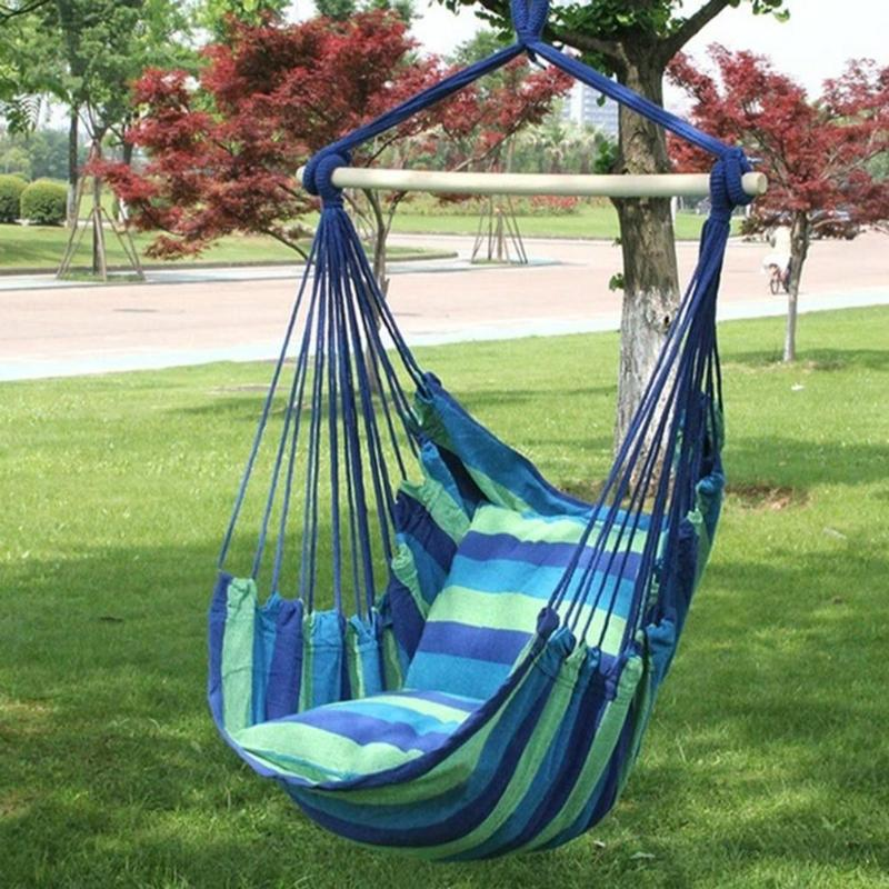 Image 2 - Indoor Outdoor Garden Hammock Hanging Rope Chair Swing Chair Seat with 2 Pillows Travel Camping Hammock Swing BedGarden Chairs   -