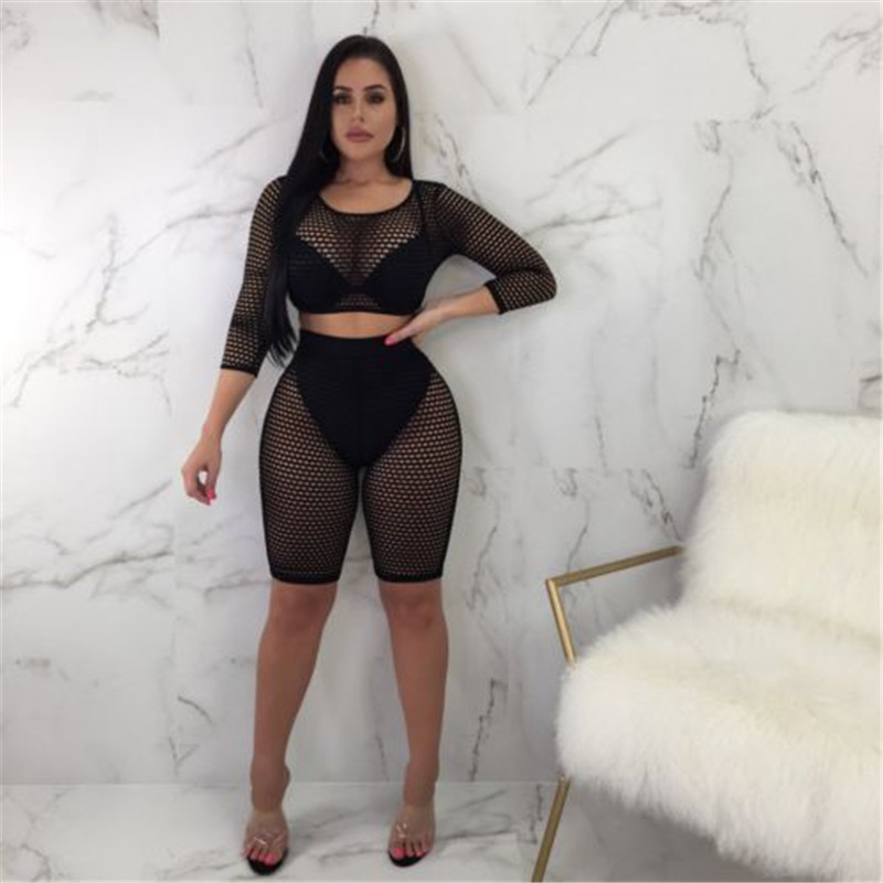 Women Sexy Long Sleeve See-Through Mesh Fishnet Crop Tops T-Shirt Shorts Set 2PCS Hollow Out Beachwear Bathing Suit Short Pants