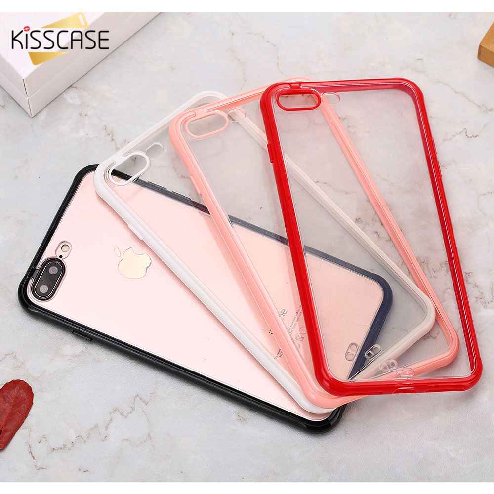 Funda suave transparente KISSCASE para iPhone X XR XS Max, fundas con bordes de colores para iPhone 7, 8, 6, 6S Plus, fundas traseras a prueba de golpes, Coque