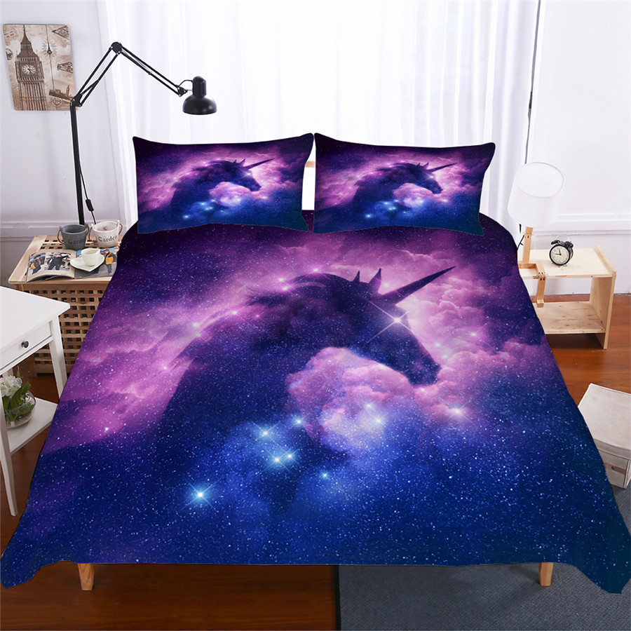 Bedding Set 3D Printed Duvet Cover Bed Set Unicorn Home Textiles for Adults Lifelike Bedclothes with Pillowcase #DJS18-in Bedding Sets from Home & Garden