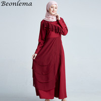 Beonlema Arabic Dress Indonesia Islamic Women Vestidos Red Ruffles Long Dresses Ladies Muslim Gown Femme Moroccan Dresses M XL