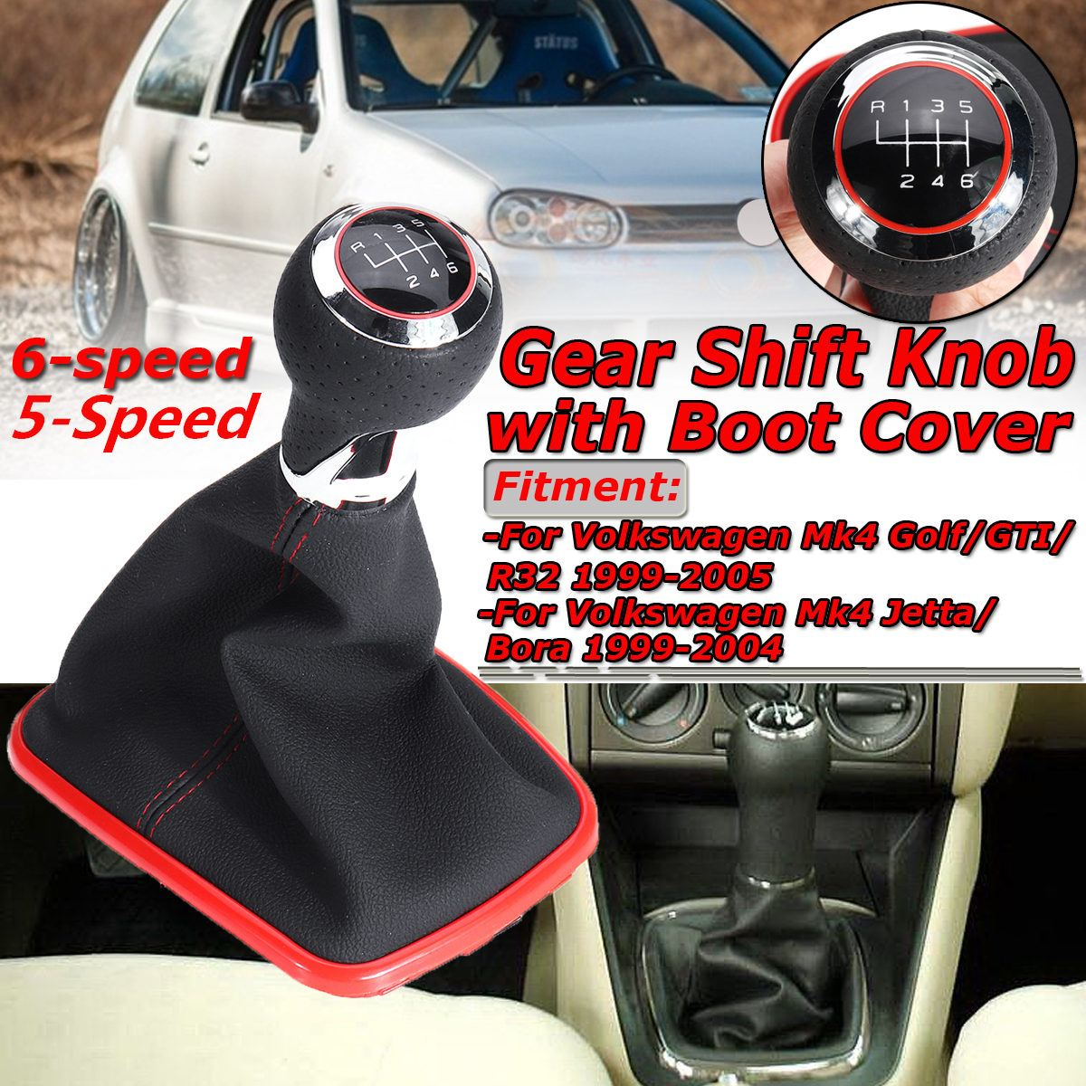 2019 Latest Design Gear Knob Shift Boot No Base Frame 5 Speed For Jetta Bora Mk4 Truck Accessories