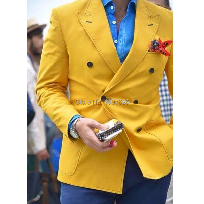 Double Breasted Yellow Prom Blazer Peaked Lapel Mens Fashion Tops Suit Jacket For Evening Party Stage Male Coat