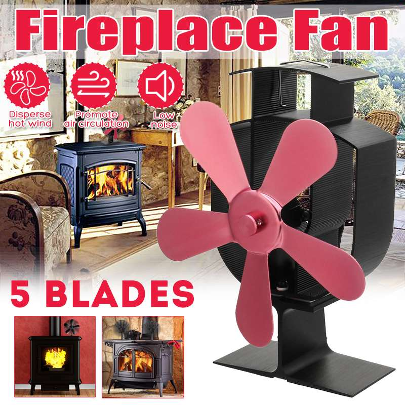 5 Blade Rose Red Heat Powered Stove Fan Log Wood Burner Eco Friendly Quiet Home Fireplace Fan Heat Distribution Fuel Saving