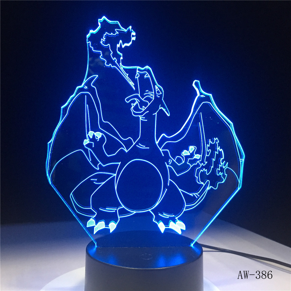 Novelty Cartoon Pokemon Charizard 3D Lamp USB Night Light Multicolor LED Lighting Bulb Luminaria Kid toy Christmas Gift AW-386Novelty Cartoon Pokemon Charizard 3D Lamp USB Night Light Multicolor LED Lighting Bulb Luminaria Kid toy Christmas Gift AW-386