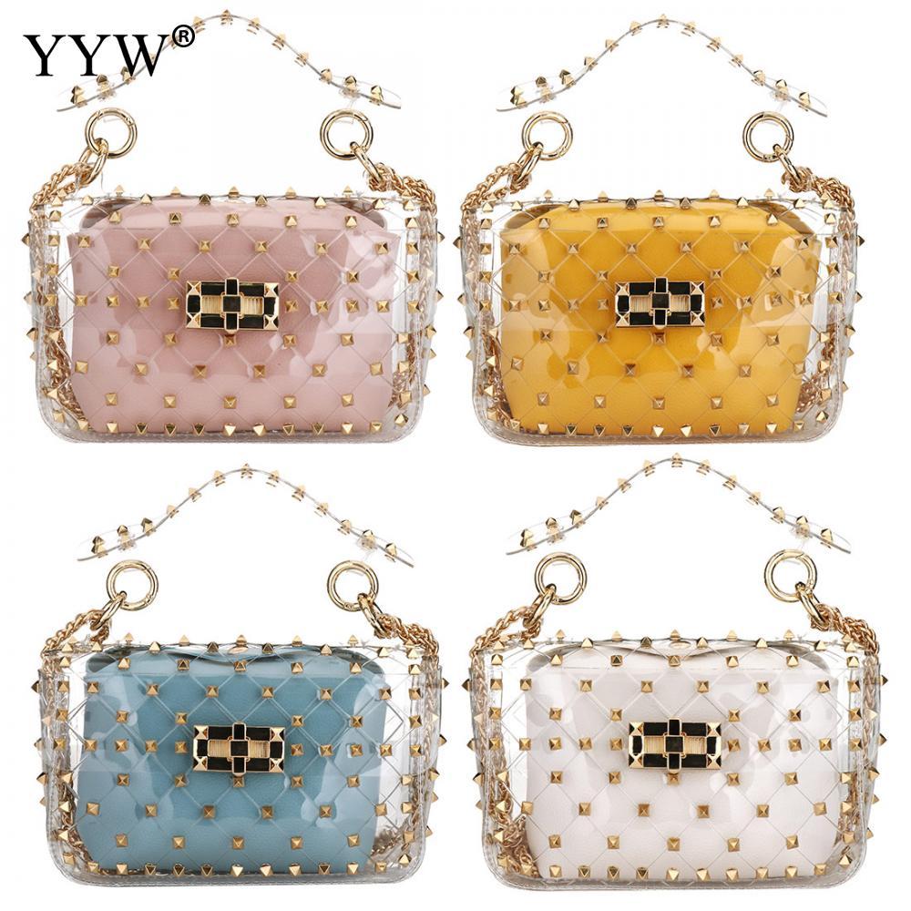 Punk Chic Rivet Clear Transparent Pvc Shoulder Bags Candy Color Women Jelly Bags Purse Solid Color Handbags Pink Crossbody Bags Ожерелье
