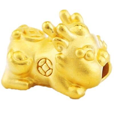 Чистый 999 24 К желтого золота 3D Для женщин Для мужчин счастливая монета Pixiu для бисера Кулон 0,8-1 г