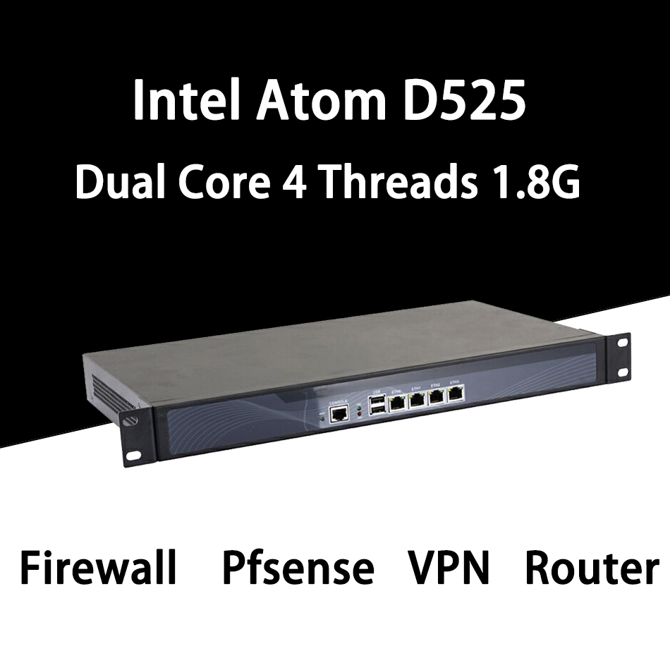 Firewall Mikrotik Pfsense VPN Network Security Appliance Router PC Intel Atom D525,[HUNSN SA03R],(4LAN/2USB2.0/1COM/1VGA/FAN)