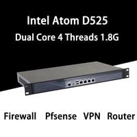 Firewall Mikrotik Pfsense VPN Network Security Appliance Router PC Intel Atom D525,[HUNSN SA03R],(4LAN/2USB2.0/1COM/1VGA/FAN)