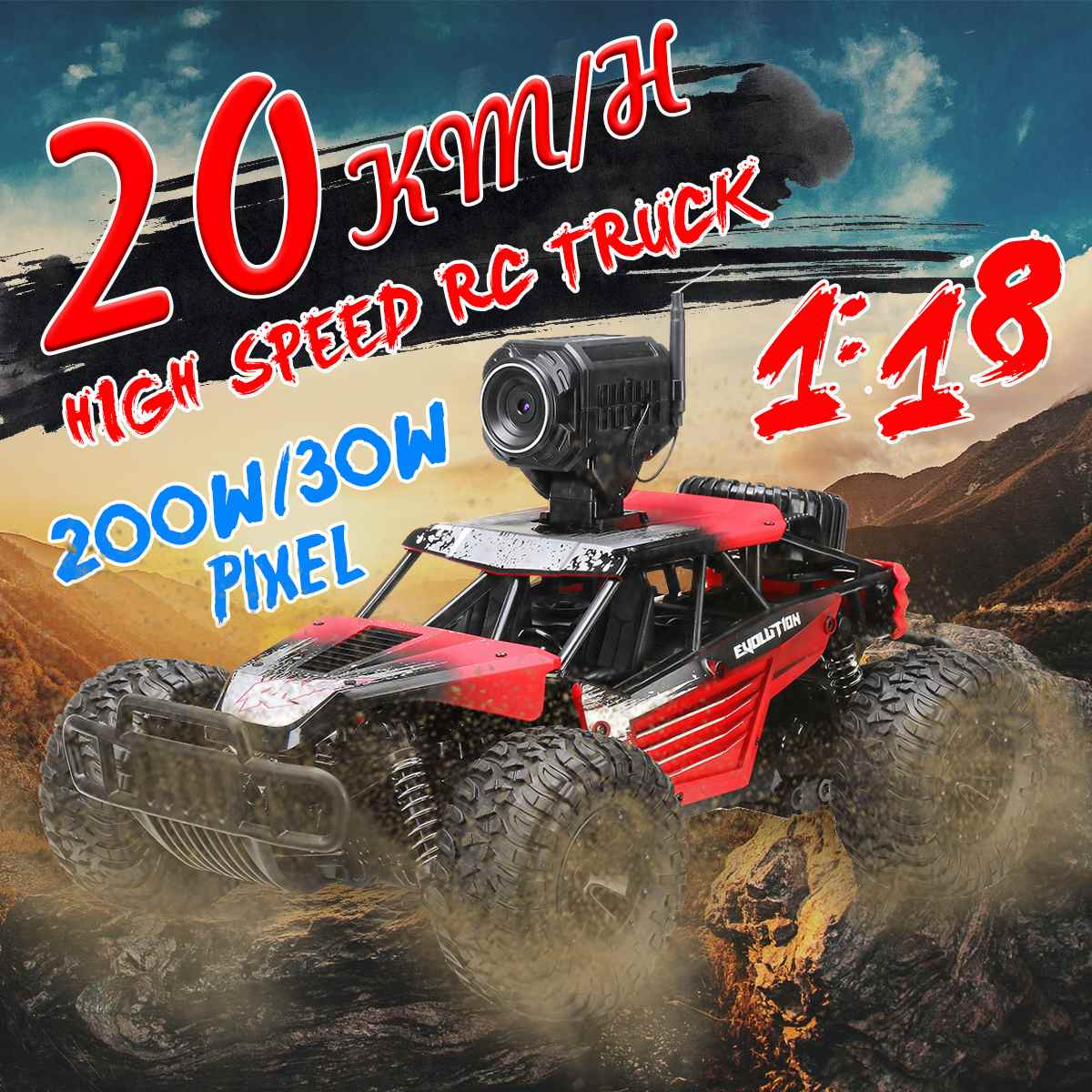 1:18RC Car 4WD climbing Car Double Motors Drive Car WIFI Remote Control Model Off-Road Vehicle Toys with camera For Boys Kids