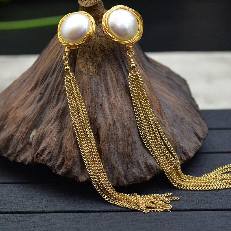Boucles d'oreilles longues à la mode pour femmes avec pompon et perles plates d'eau douce de 14 MM pour cadeau de mère