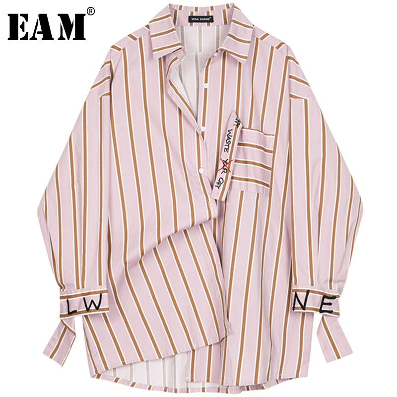 [EAM] 2020 New Spring Autumn Lapel Long Sleeve Red Striped Printed Letter Big Size Shirt Women Blouse Fashion Tide JQ226