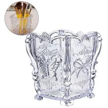 Cosmetic-Brush-Organizer Storage-Holder Makeup-Brush Butterfly Carved-Container Acrylic