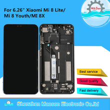 """6.26 """"orijinal M & Sen için Xiaomi Mi 8 Lite çerçeve ile LCD ekran + dokunmatik Panel sayısallaştırıcı çerçeve Mi8 Lite MI 8X LCD çerçeve"""