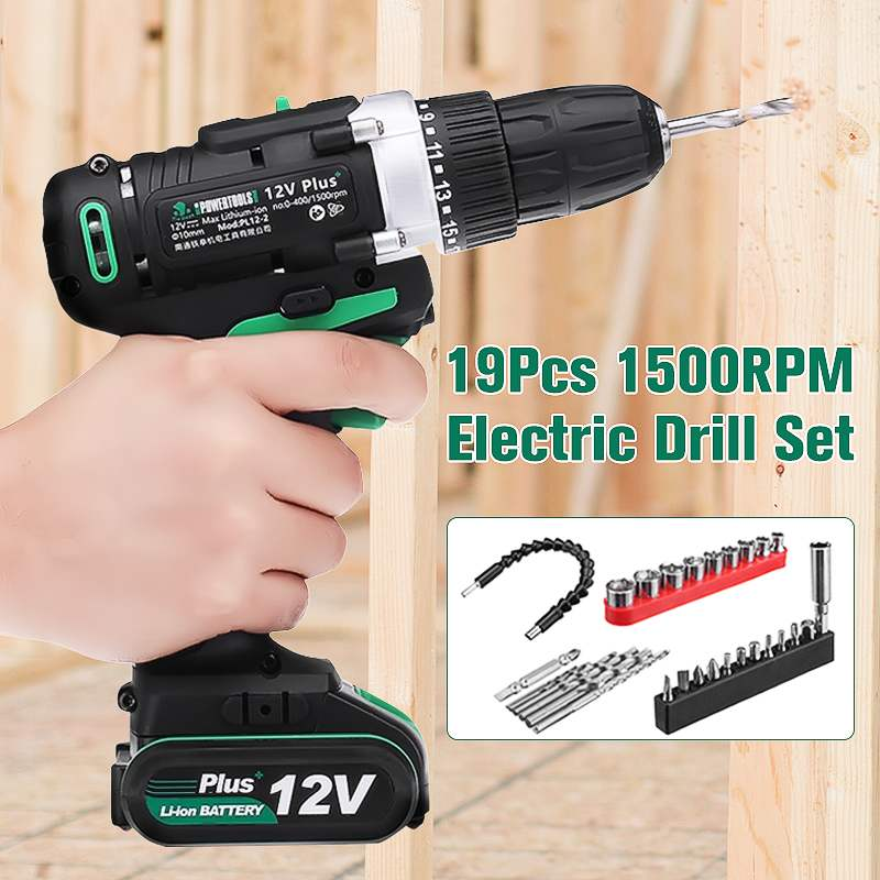 100-240V 12Vplus Electric Screwdriver Cordless Impact 2-Speed Electric Hand Drill Lithium-ion Battery Rechargeable Power Tools ac 100 240v 21v plus cordless electric screwdriver rechargeable power drills tools lithium ion battery electrical hand drill set