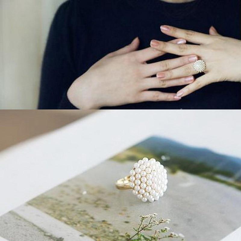 1pc New Cute Adjustable White Flower Imitation Pearl Mushroom Ring Fashion Jewelry