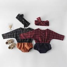 VTOM Baby Girls Rompers Newborn Infant  Plaid Long-Sleeved Fashion Jumpsuits Clothes EG6