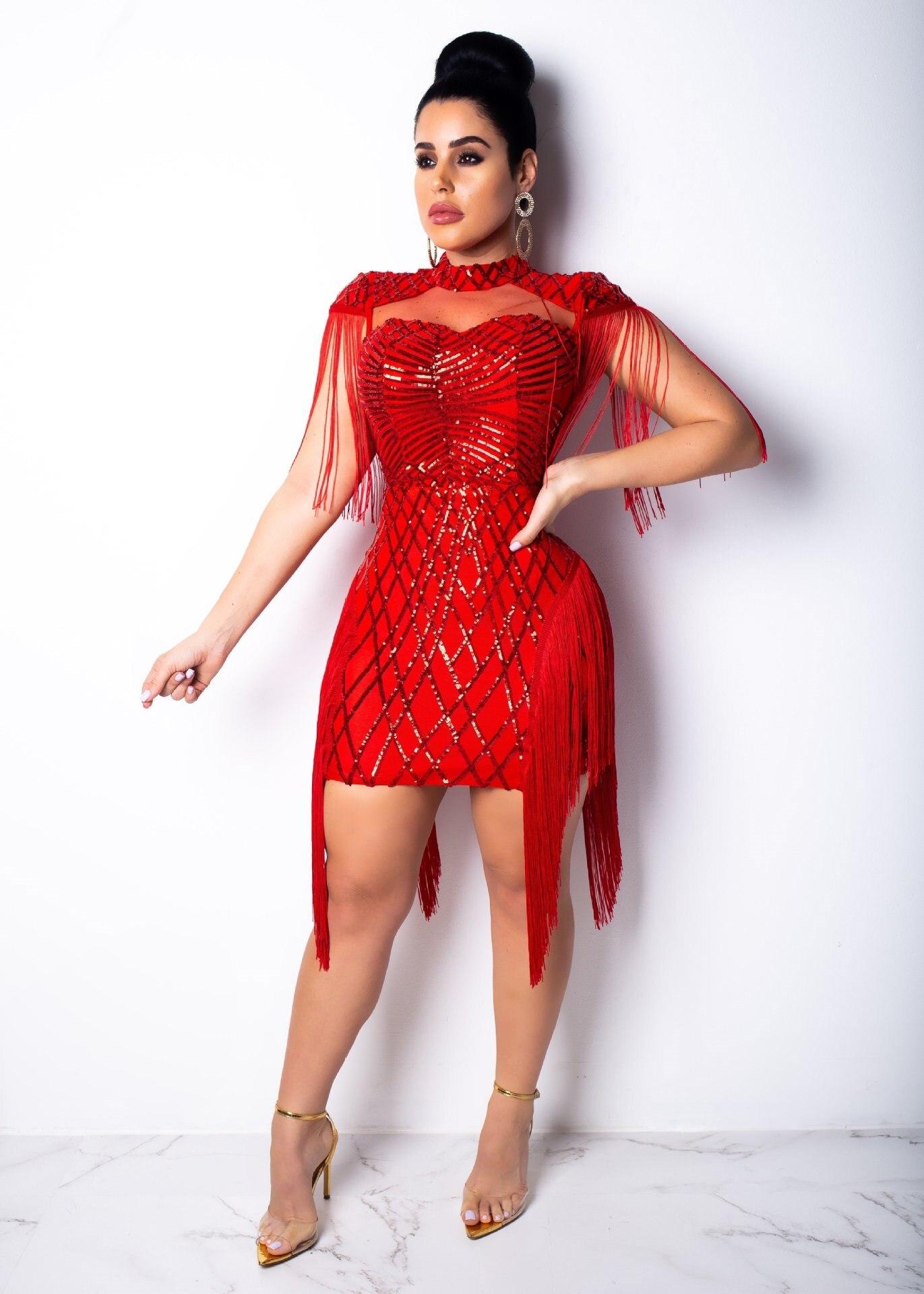 Fashion Women Tassel Sequins Dress Short Sleeve Fringe Sexy Club Mini Bodycon Party