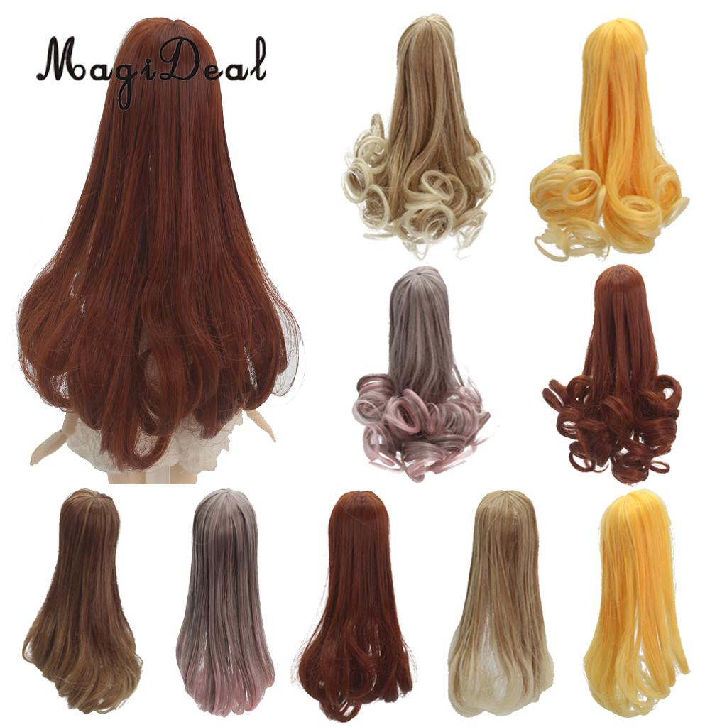 25cm Multicolor Long Straight Wig Hair for Girl Doll DIY Making Accessory