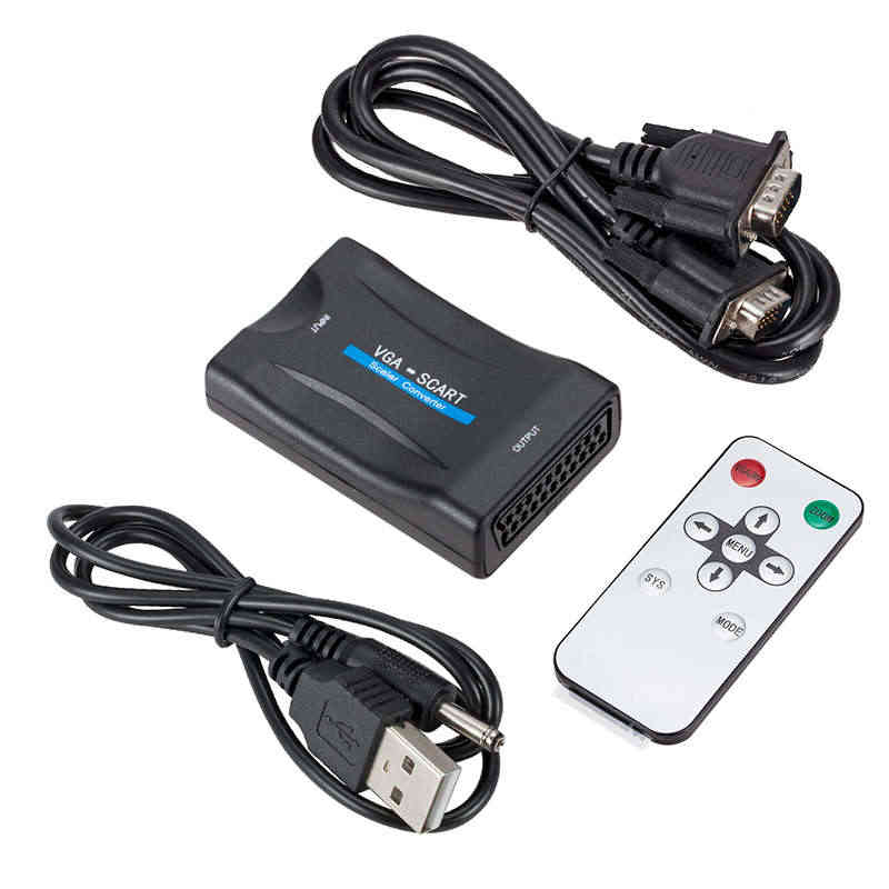 Vga To Scart Video Audio Converter Adapter With Remote Control Usb Dc Power Cable And Vga Cables