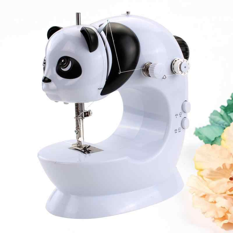 Мини-швейная машина в форме панды электрическая высокая/низкая скорость двойная нить для ног бытовая швейная машина со светодиодной подсветкой