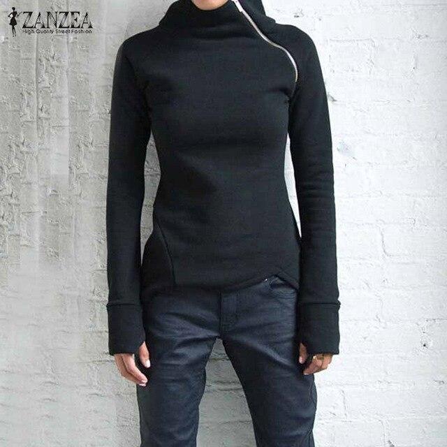 ZANZEA Frauen Hoodies Sweatshirts 2017 Herbst Casual High Neck Langarm Zipper Dünne Ausgestattet Blusas Pullover Plus Größe Tops