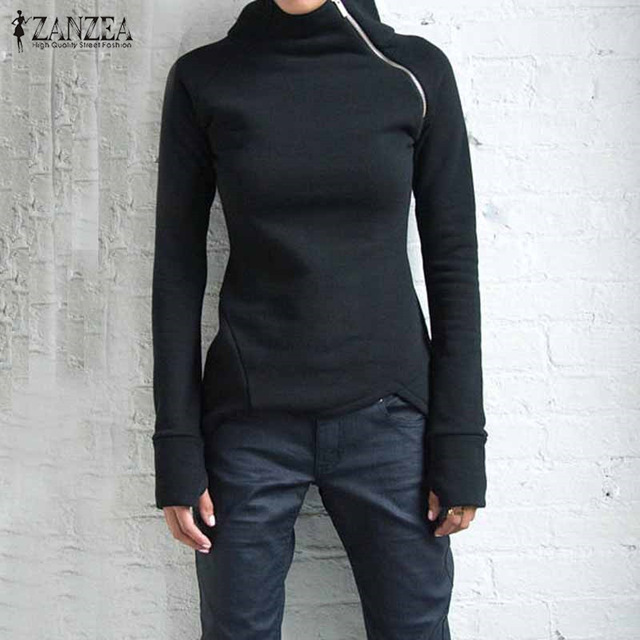 ZANZEA mujeres sudaderas con capucha sudaderas 2017 otoño Casual cuello alto manga larga cremalleras Slim equipado Blusas jerseys Plus tamaño