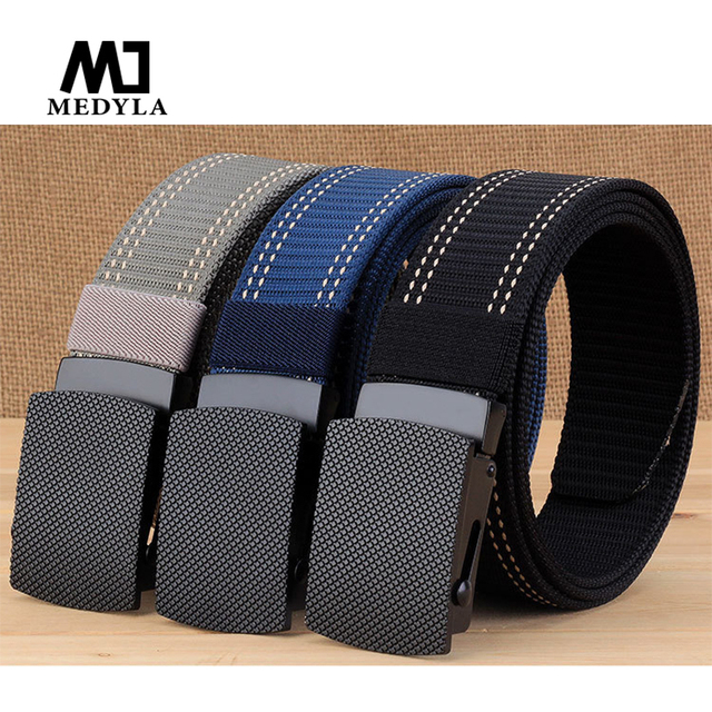 df60289f0 MEDYLA New Fashion Men s Belt Men Casual Style High Quality Nylon Belt Zinc  Alloy Slider Buckle 6 colors Men s Gift MN025