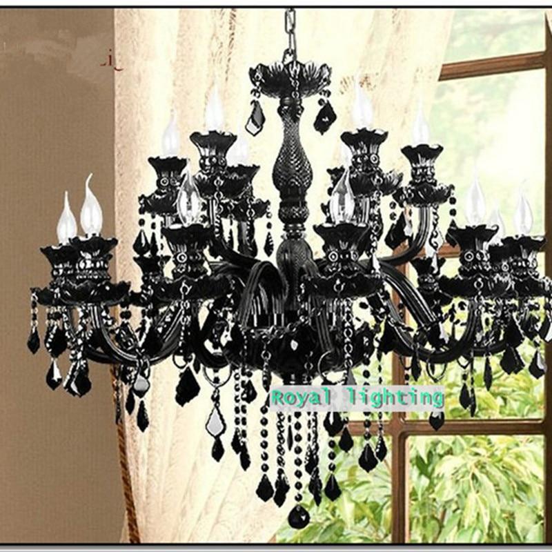 Villa Foyer fekete kristálycsillár led lámpák Forró eladás E14 - Beltéri világítás