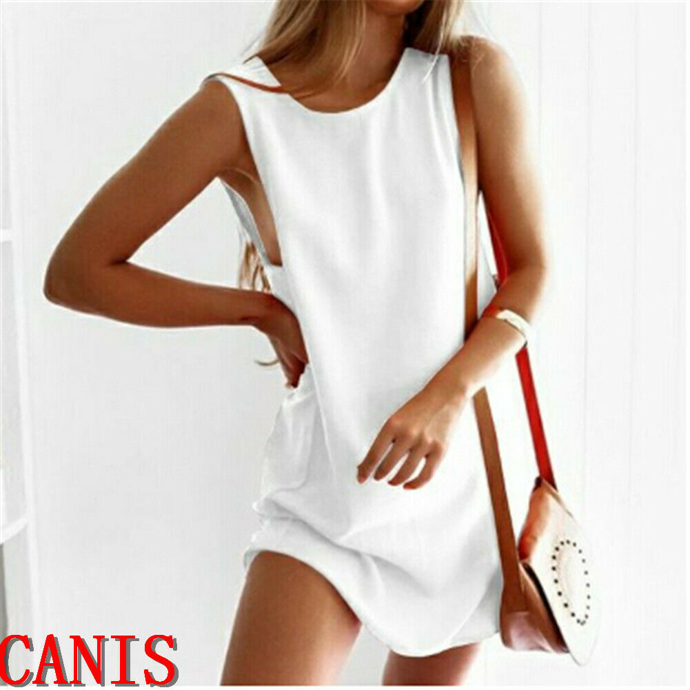 Women Lady Long Tshirt Summer 2019 Casual Sleeveless Loose Shirt Solid Plus Size 5XL T-shirt Women Cotton