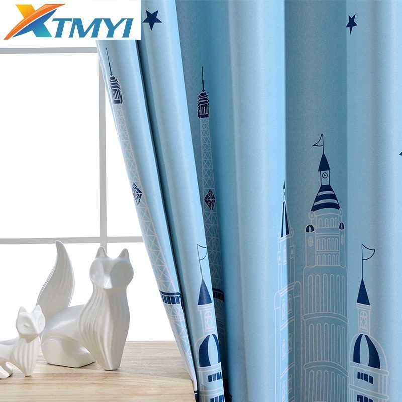 Printed Blackout Curtains For Living Room Children Kids Bedroom Window Modern Child Blackout Curtain Drapes Pattern Shading
