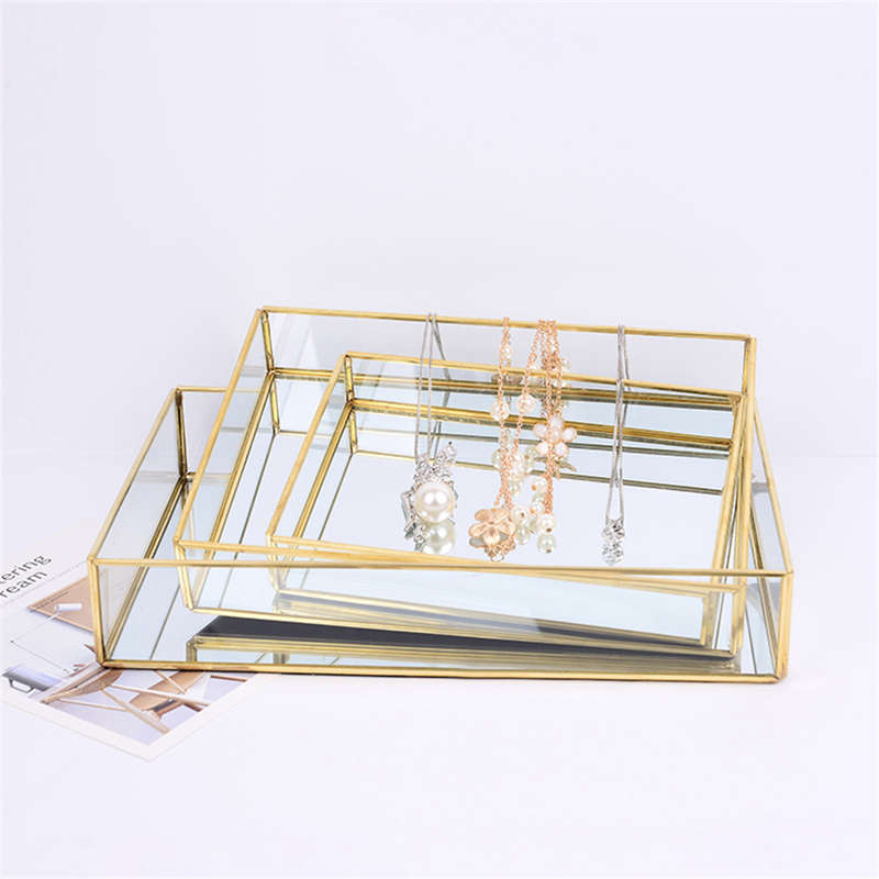 Nordic Retro Storage Tray Gold Rectangle Glass Makeup Organizer Tray Dessert Plate Jewelry Display Home Kitchen Decor
