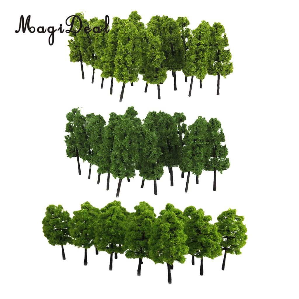 40x Model Train Railway Scenery Building Green Tree Models HO Z Scale Layout For Diorama Wargame