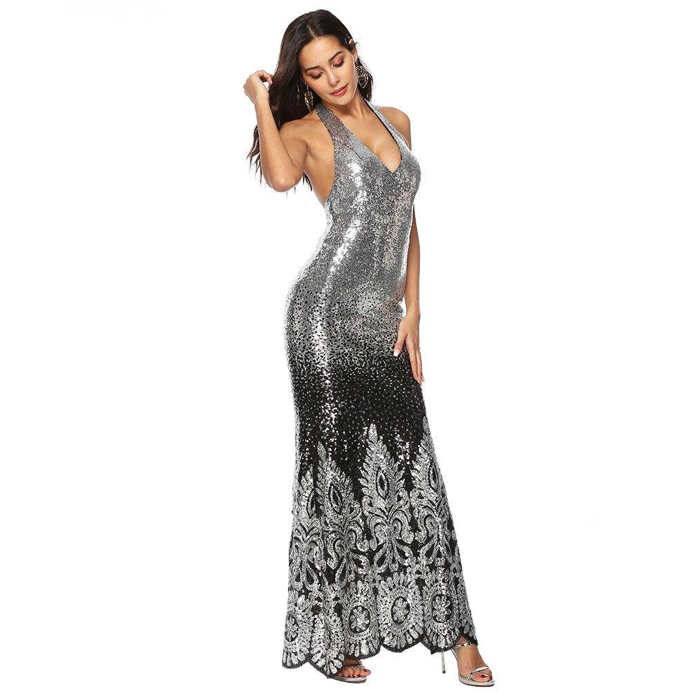 a9107f8b74 Moulante Robes Sexy L'ukraine Longue Sequin Femmes Nu Robe Vêtements  Sukienki Nouveau Glitter Muxu Partie Color Femme Dos ...