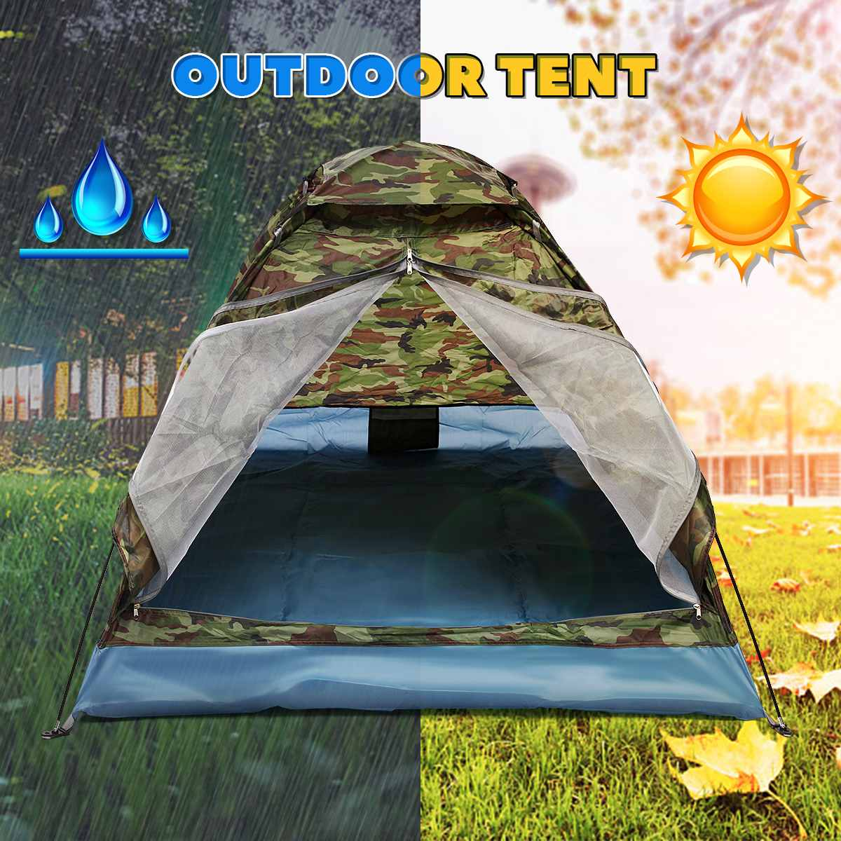 200*140*110cm  Outdoor 2 Person waterproof Sunscreen Double Tent Folding Camping Hiking Camouflage Waterproof w/ Bag200*140*110cm  Outdoor 2 Person waterproof Sunscreen Double Tent Folding Camping Hiking Camouflage Waterproof w/ Bag