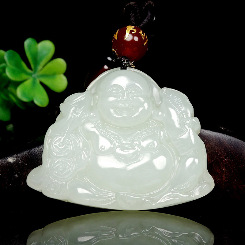 2019 offre spéciale Druzy Buda Chakra naturel pendentif Popsocket certificat de livraison Xinjiang véritable Hotan rire Maitreya Gongyu