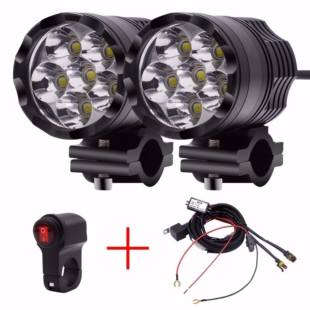 OHANEE Universal LED Headlight For Scooter Motorcycle Snowmobile ATV Motor Tricycle 12v To 48V Headlamp With 6 SMD Solid Light