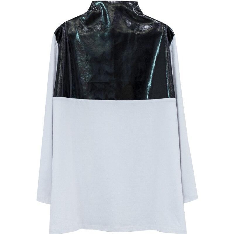 Printemps 2019 nouveau Patten demi col roulé à manches longues pu-patchwork Zipper coton Streetwear T-shirt femmes femme E933 - 5