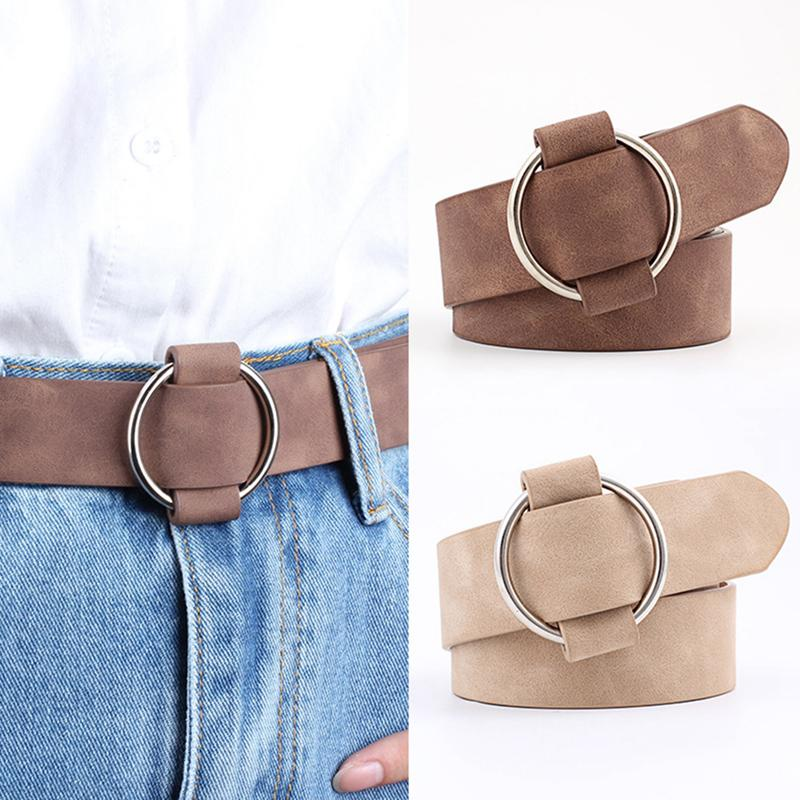 Retro Velvet Women   Belt   For Jeans Dress Fashion Needleless Round Buckle   Belt   High Quality Solid Color Simple Casual Female   Belt