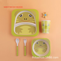 Environmental Protection Bamboo Fiber Children Cartoon Tableware Suit Meal Dish Five Paper Set Animal Originality baby food
